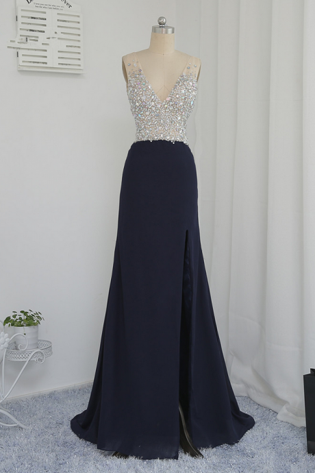 Black Prom Dresses A-line Deep V-neck Beaded Crystals Long Backless Sexy Prom Gown Evening Dresses Evening Gown