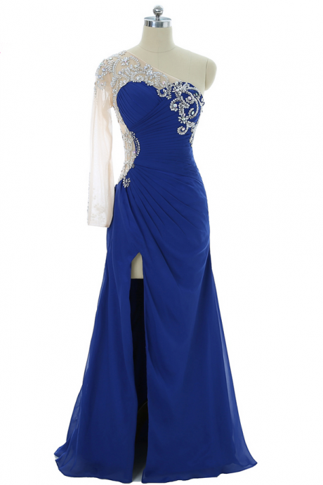 Royal Blue Prom Dresses Mermaid One-shoulder Chiffon See Through Crystals Long Prom Gown Evening Dresses Robe De Soiree