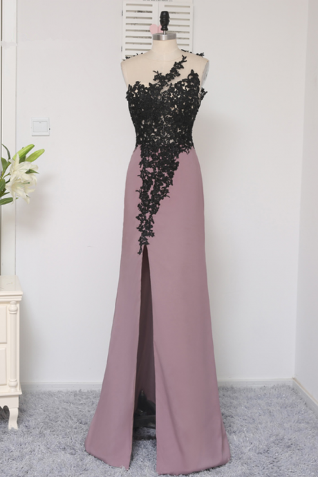 Black Prom Dresses Mermaid Floor Length Open Back Applique Lace Slit Sexy Prom Gown Evening Dresses Evening Gown