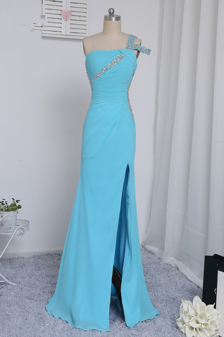 Blue Prom Dresses Mermaid Open Back Beaded Sexy Slit Long Prom Gown Evening Dresses Evening Gown