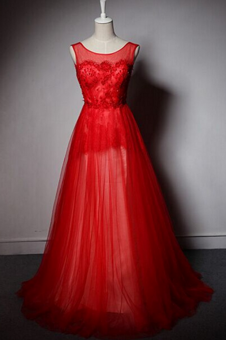 Custom Made Red Prom Dress, A-Line Prom Dress,Tulle Prom Dress, Scoop Prom Dress, Beading Appliques Prom Dress