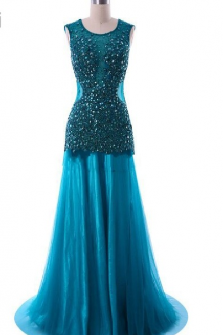 Mermaid Evening Dresses Backless Lace Beaded Hot Sale Sexy Long Robe De Soiree Blue Special Occasion Formal Gowns