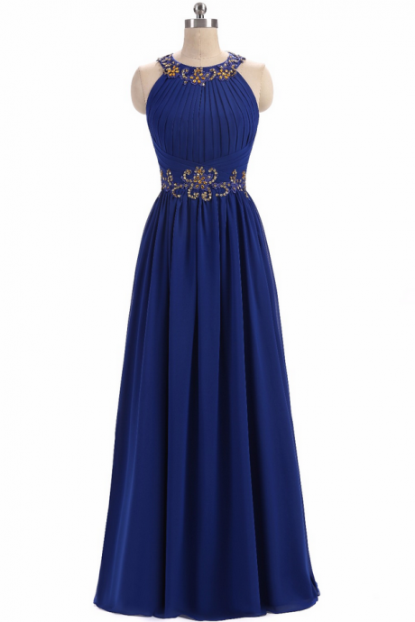 Long Blue Chiffon Off Shoulder Evening Dresses Elegant Women Party Vestidos Backless Beaded Sexy High Neck Mother Of Bride