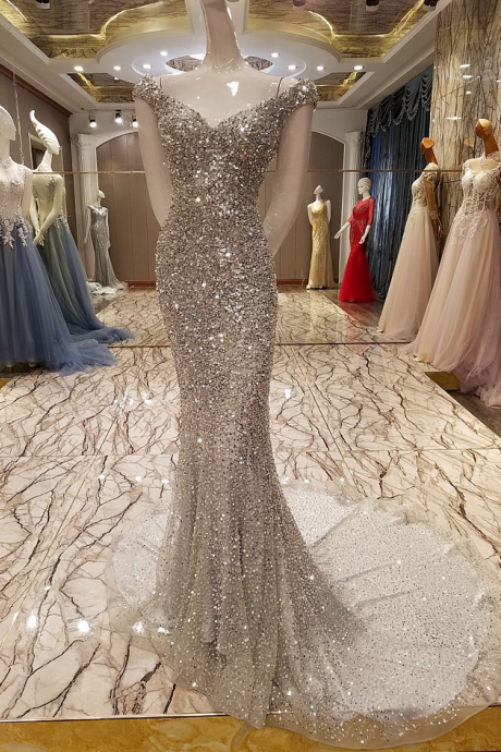 New High-end Luxury Silver Crystal Beading Mermaid Evening Dress Slim Sexy Formal Party Gown Robe De Soiree