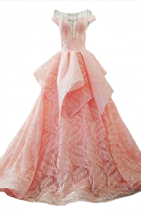 New Luxury Pink Evening Dress High-end Lace Embroidery with Sequined Long Party Formal Gown Custom Robe De Soiree