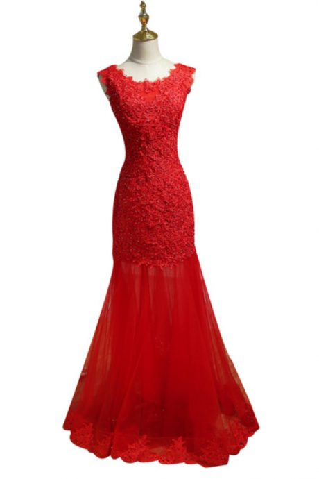 Married Long Evening Dress Red Lace Beading Sleeveless Sexy Slim Fishtail Banquet Prom Dresses Custom Formal Gown