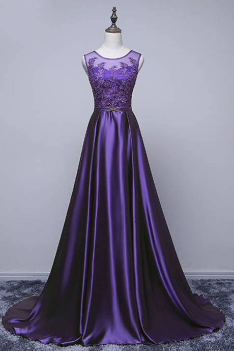 Luxury Satin Evening Dress The Bride Banquet Elegant Purple Lace Appliques Floor-length Long Prom Dress Party Gowns