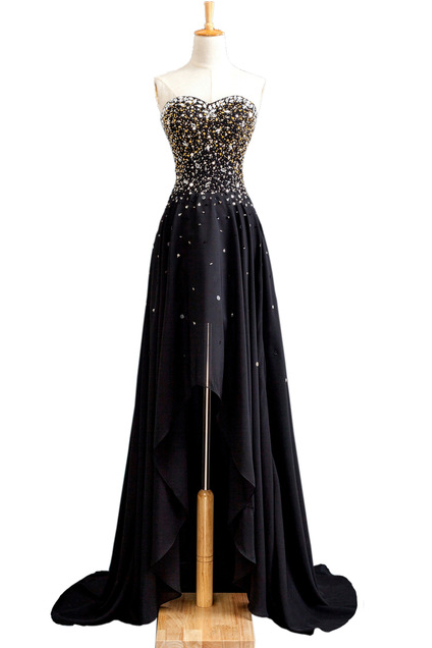 New Banquet Evening Gown Sexy Slim Black Strapless Sleeveless Beading Short Front Back Long Prom Dress Catwalk Dress