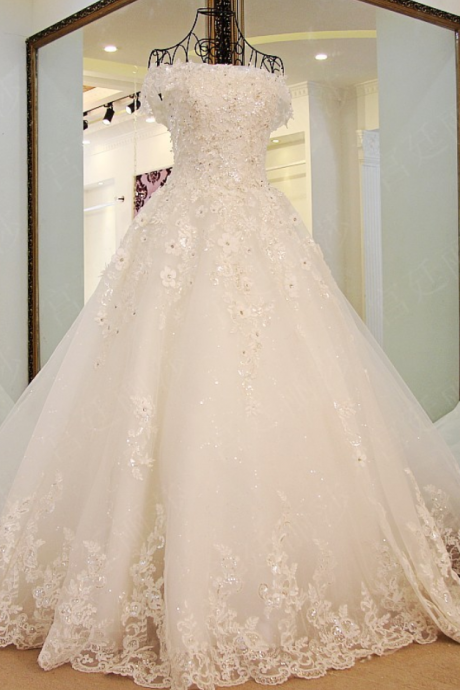 Lace Flower Crystal Beading A-line Wedding Dress The Bride Princess Romantic Banquet Long Formal Dress