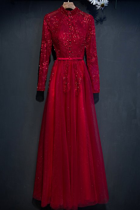 Evening Dress Winter Bride High Collar Transparent Long Sleeves Wine Red Lace Party Gown Banquet Elegant Prom Dress