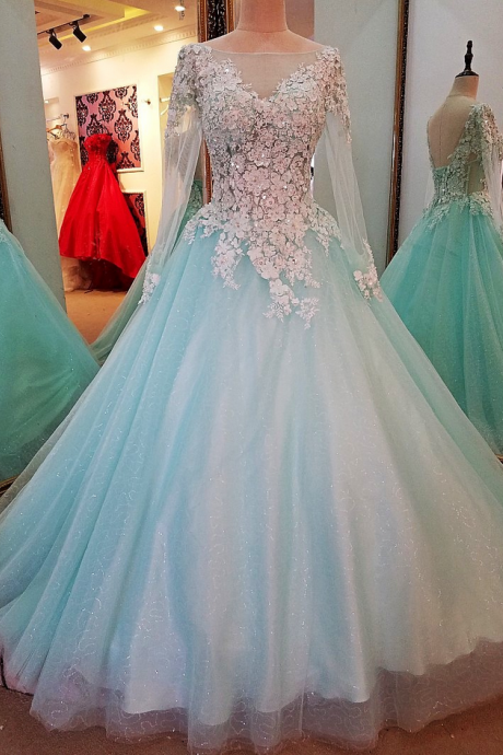New High-end Evening Dress Luxury Sweet Light Blue Long Sleeved Lace Flower Floor-length Prom Party Formal Gown