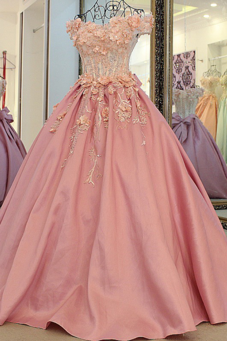 Evening Dress High-grade Bride Princess Sweet Pink Lace Flower Luxury Satin A-line Long Party Gown Prom Dresses
