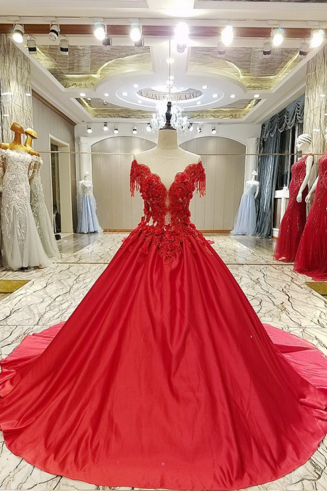 New High-end Luxury Satin Evening Dress Bride Married Red Lace Flower with Beading Sweep Train Long Prom Party Gowns