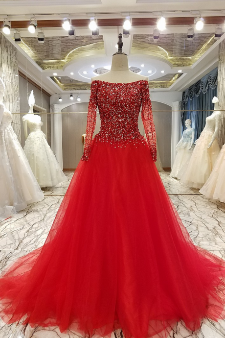 New Luxury Evening Dress High-end The Bride Married Crystal Beading Long Sleeved A-line Prom Party Gowns Custom