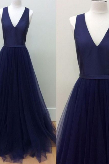 navy blue V-Neck prom dress Floor-Length tulle Prom Dress with Pockets,formal dress ,prom party dress
