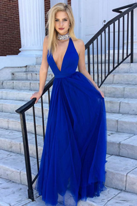 Royal blue long prom dress, evening dresses
