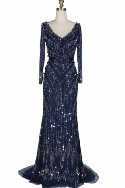 Real Photos Long Evening Dress V neck Navy Mermaid Full sleeves handmade Beaded Crystal Open back