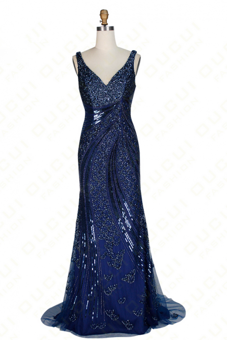 V-Neck Sleeveless Crystal Beaded Mermaid Long Prom Dress, Evening Dress