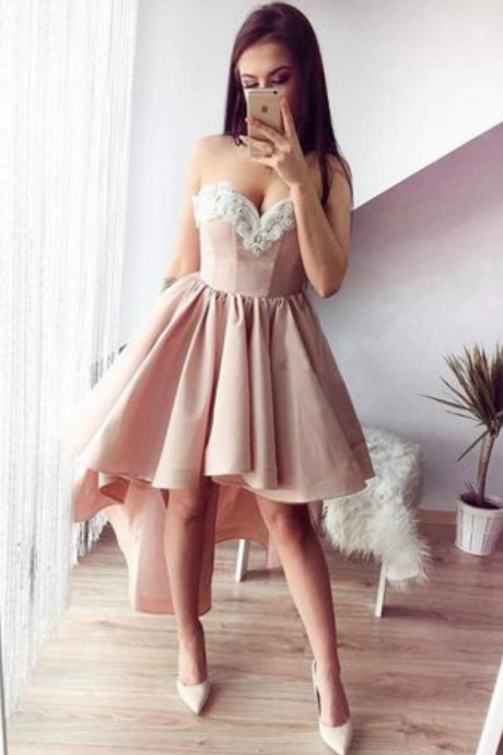 A-Line Sweetheart High Low Pink Stretch Satin Homecoming Dress with Appliques