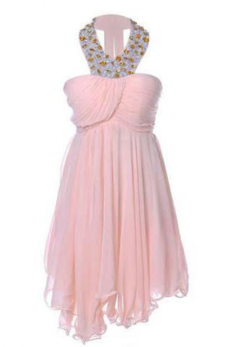 Sweetheart Pretty Short Halter Jewel Bead Prom Dresses,Uneven Hem Party Dresses