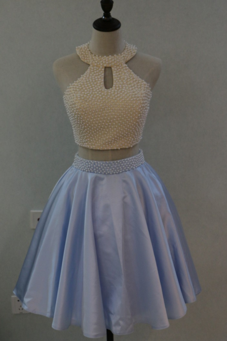 Light Blue Pearls 2 Two Pieces Homecoming Dress Mini Short 8th Grade Graduation Prom Dresses Beaded