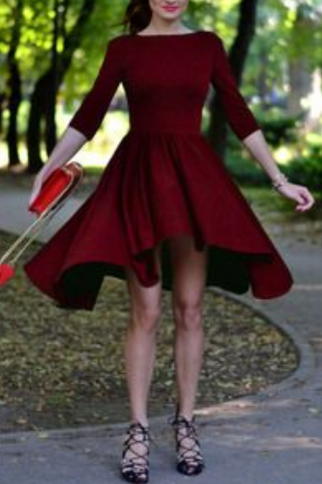 Burgundy Backless Prom Dress,Half Sleeve Homecoming Dress,Short Party Dress