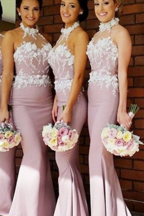New Arrival Bridesmaid Dress,Mermaid Halter Bridesmaids Dresses,Cheap Long Bridesmaid Dress with Appliques,Sleeveless Bridesmaid Dress