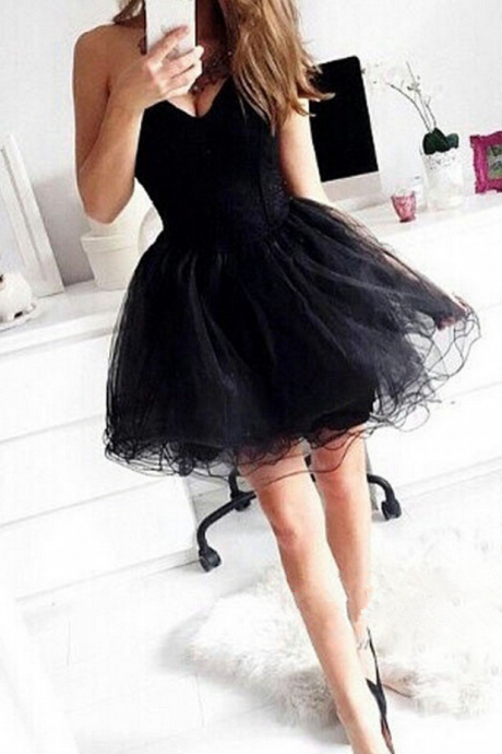 Cute Black Homecoming Dress Tulle Short Prom Dress For Women