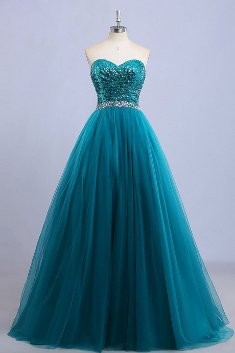 A-line Strapless Sweetheart Neck Sequin Lace Long Prom Dresses