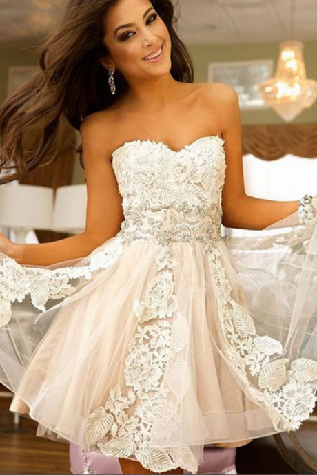 Lovely Party Dress , Lace Homecoming Dress