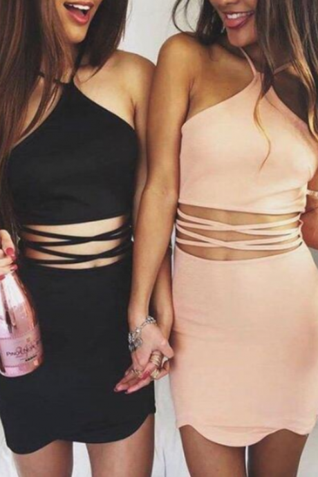 Sexy bodycon Homecoming Dress Unique Halter Cocktail Party Dresses