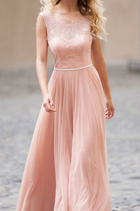 New Style Prom Dress, Open Back Long Prom Gown, Custom Made Dress,Long Party Dress With Lace Top,Blush Chiffon Prom Dress,Long Prom Party Dress,Formal Dress,