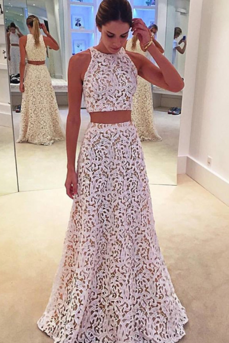 White Lace Prom Dress,Two Piece Sleeveless Formal Gown, Long Party Dress