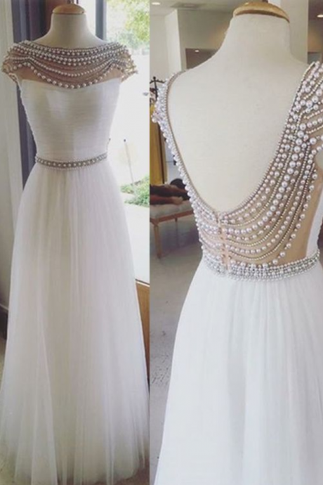 Charming Prom Dress,O-Neck Prom Dress,Backless Prom Dress,Tulle Prom Dress,A-Line Evening Dress,beaded eveningdress,beading evening gown