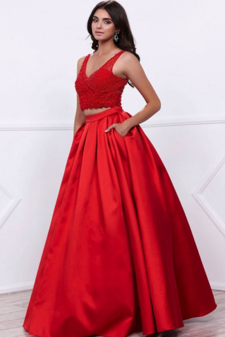 sparkling v neck sleeveless beaded ball gown prom dress