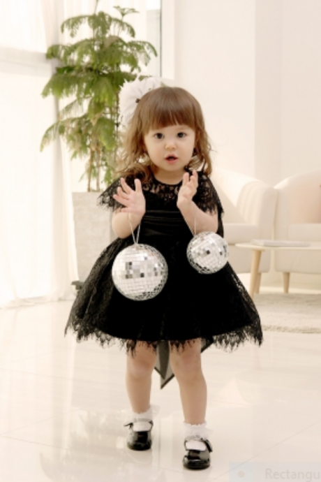 Flower Girl Dress, New Flower Girl Dress, Big Bow Party Dress, Lace Baby Girl Dress, Lace Girl Dress, Black flower girl dress, Black Bridesmaid Dress, Children Dress, Free Shipping.