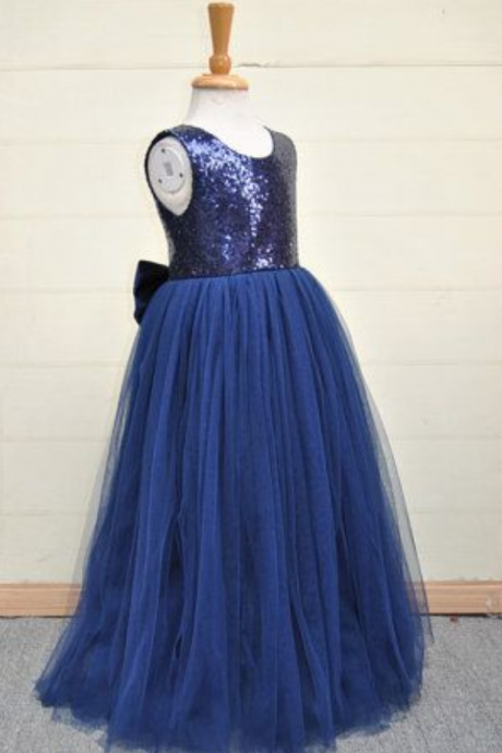 Flower Girl Dresses Dark Blue Flower Girl Dress with Sequin Bodice Flower Girl Dresses For Weddings Girls Formal Party Dresses