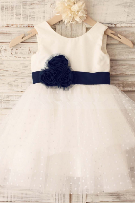 Flower Girl Dresses Polka Dot Ivory Flower Girl Dress with Navy Sash Flower Girl Dresses For Weddings Girls Formal Party Dresses