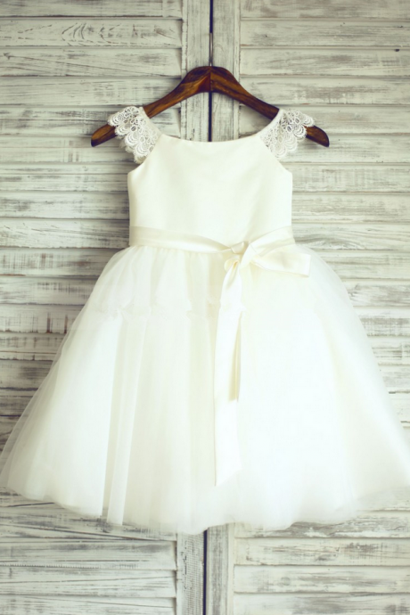 Flower Girl Dresses Ivory Flower Girl Dress with Ribbon Sash Flower Girl Dresses For Weddings Girls Formal Party Dresses