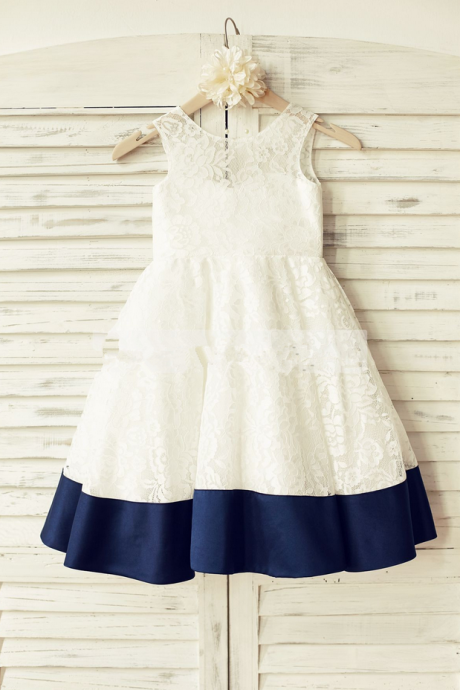 Flower Girl Dresses Ivory Lace Flower Girl Dress with Navy Trim Flower Girl Dresses For Weddings Girls Formal Party Dresses
