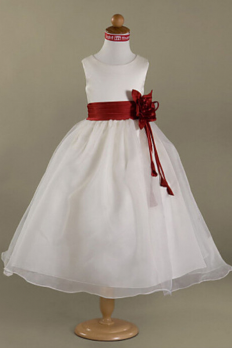 Flower Girl Dresses Holy First Communion Dress with Pleated Cummerband Flower Girl Dress