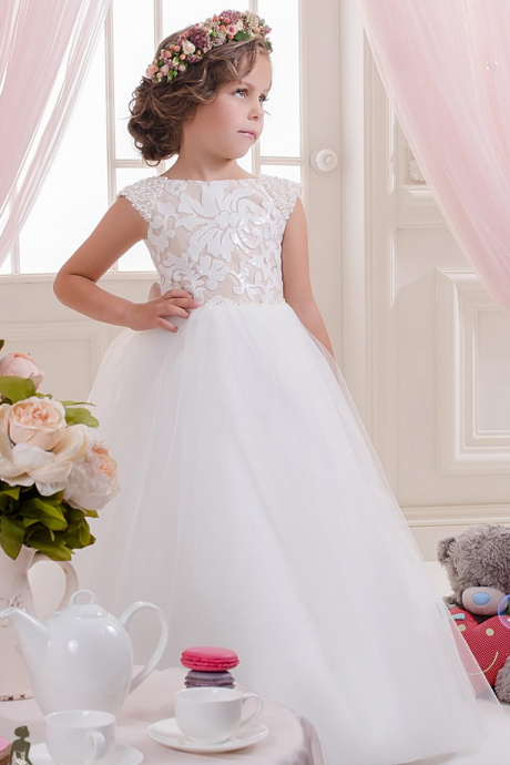 Flower Girl Dresses ,Ivory Flower Girl with Pearled Shoulders, Girl Pageant Dress