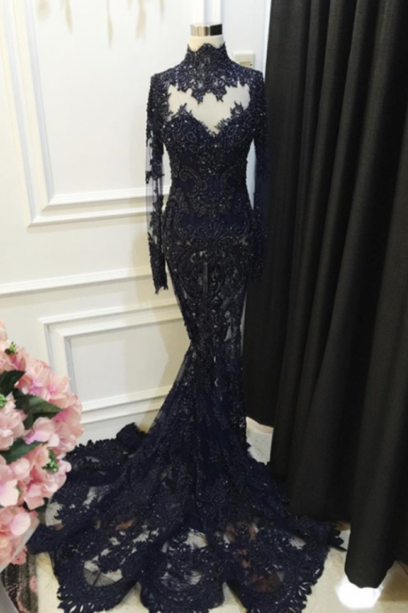 High Collar Black Lace Prom Dress Long Sleeves Mermaid Evening Dress