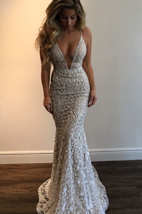 Amazing Stunning Prom Dress,Spaghetti Straps Evening Dress,Beading Party Dress