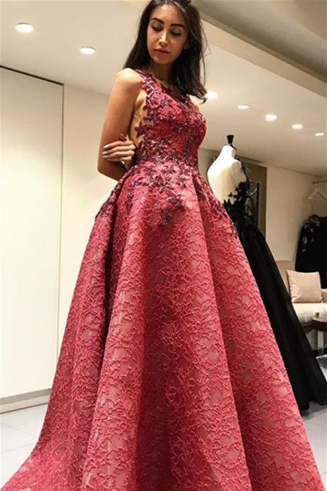 Sexy Sleevelss Backless Lace Formal Evening Dresses Appliques Prom Dress