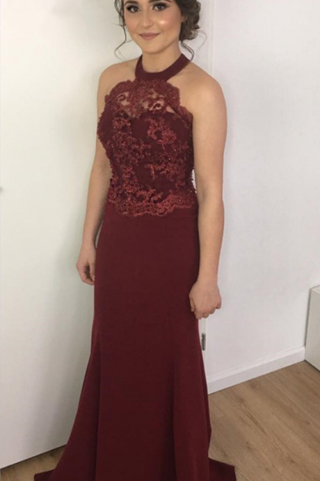 Burgundy Mermaid Prom Dress,Long Prom Dresses,Prom Dresses,Evening Dress, Prom Gowns, Formal Women Dress