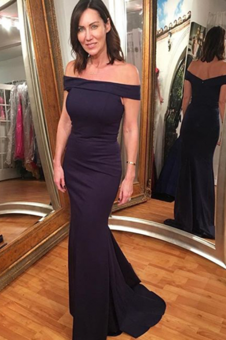 Gorgeous Off-the-shoulder Prom Dress,Navy Blue Mermaid Prom Gown,Off The Shoulder Evening Gown,Mermaid Party Dresses,Long Evening Gowns