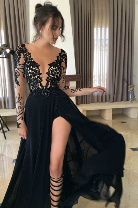 A-line Black Long Sleeve Prom Dress Sexy Prom Dress,Long Black Evening Dresses