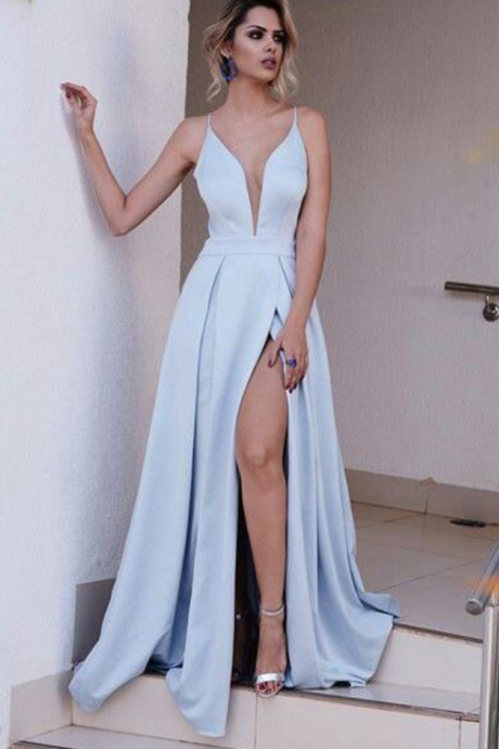Light Blue Spaghetti Split Prom Dress,Prom Dress 2017,Sexy Deep V-neck Prom Gown,New Style Evening Gown,Fashion Formal Dresses
