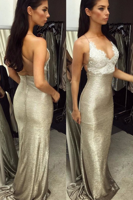 Sexy Mermaid Spaghetti Straps Sleeveless Backless Lace-Top Long Prom Dress Evening Dresses